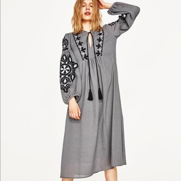 a774cf97 Zara Dresses | Embroidered Midi Maxi Dress | Poshmark